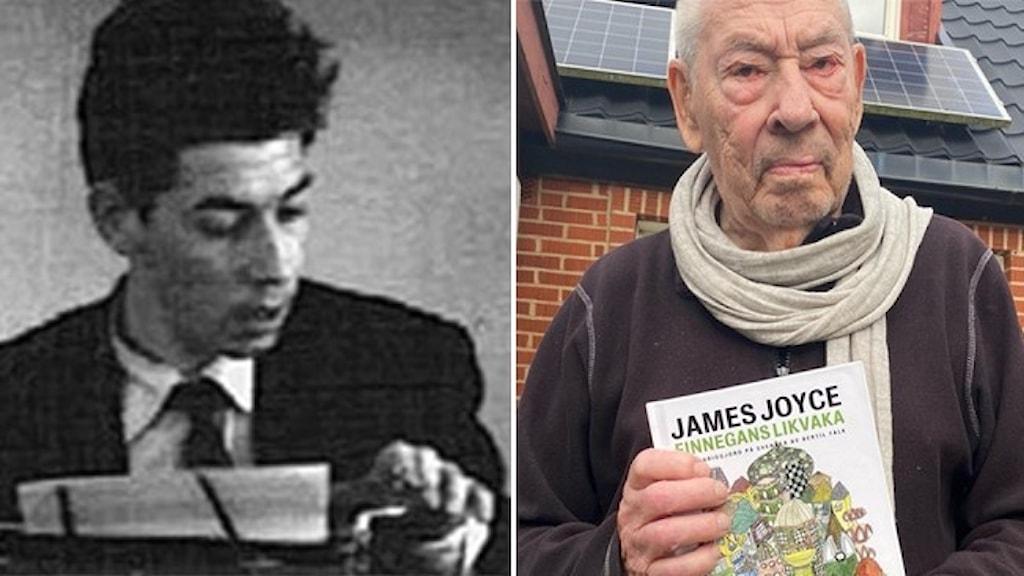 En svartvit bild av Bertil Falk som ung, sittande vid en skrivmaskin, och ett porträtt av honom som gammal, hållande i boken han översatt under 66 år: Finnegans likvaka.