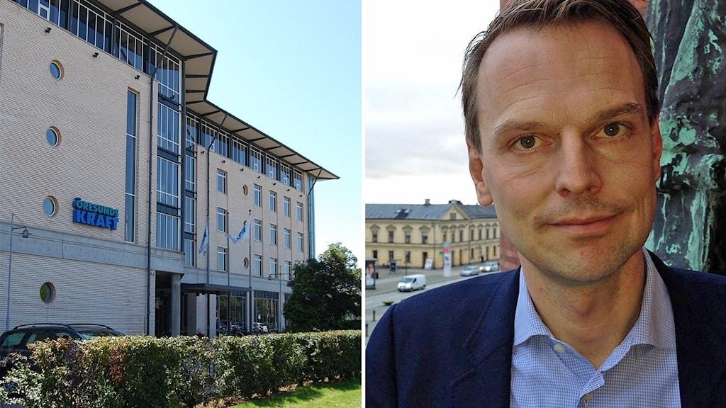 Det moderata kommunalrådet Peter Danielsson i Helsingborg vill vänta med debatten om försäljningen av Öresundskraft. Foto: Öresundskraft och Lill Eriksson/Sveriges Radio.