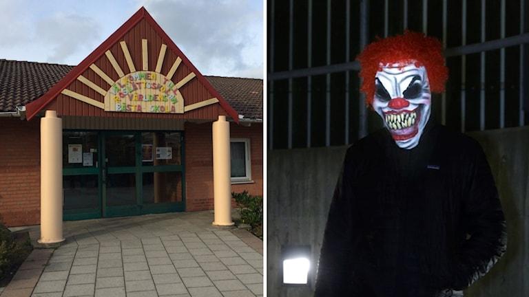 En clown dök upp vid Roslättsskolan. Sveriges Radio/Ruud, Vidar TT