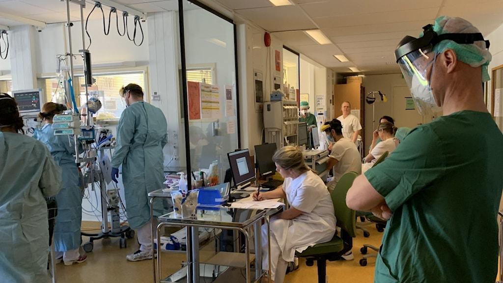 En samling vårdpersonal på en covid-iva-avdelning.