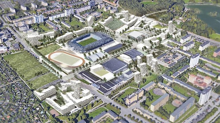 Malmöalliansens vision av Stadionområdet. Bild: Malmöalliansen