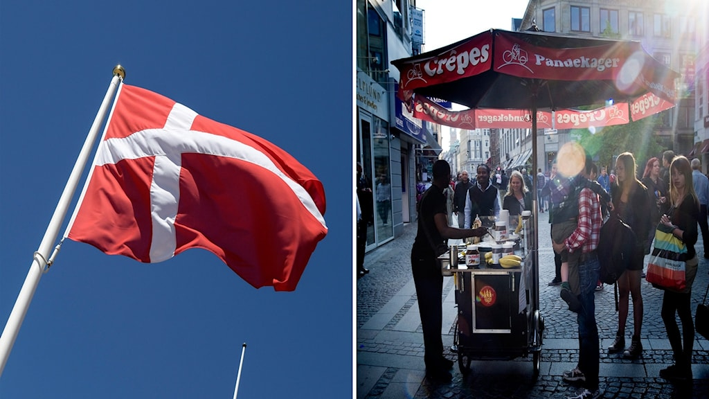 Dansk flagga. Personer på Ströget.