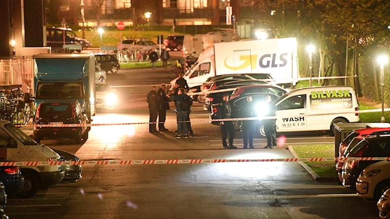 Politiet arbejder omkring Tagensvej på Nørrebro i forbindelse med skyderi. Foto: Thomas Sjørup/TT
