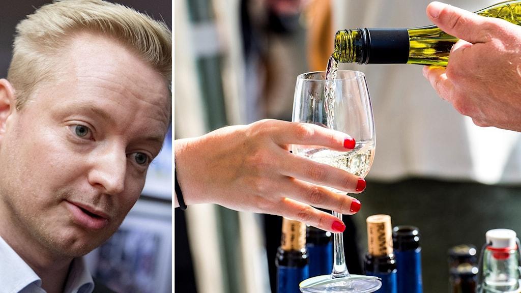 Man till vänster, till höger hälls vin upp i ett glas.
