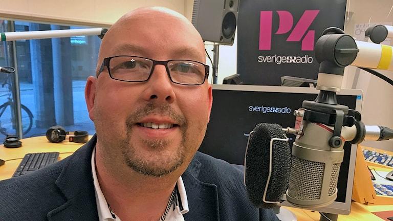 Patrik Bjurberg, fotbollsförälder från IK Wormo som ska hyllas på Fotbollsgalan. Foto: Sofie Ericsson/Sveriges Radio.