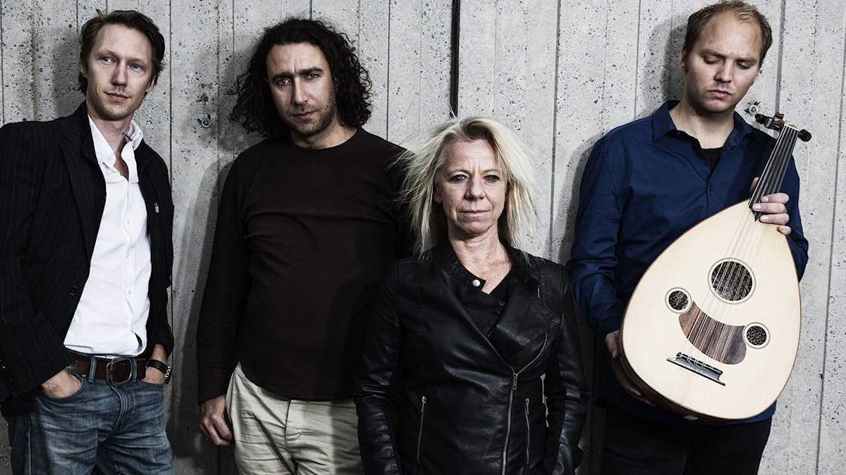 Till Damaskus: Simon J Berger, Ghayath Almadhoun, Marie Silkeberg och Fredrik Schützler (Foto: Mattias Ahlm/Sveriges Radio)
