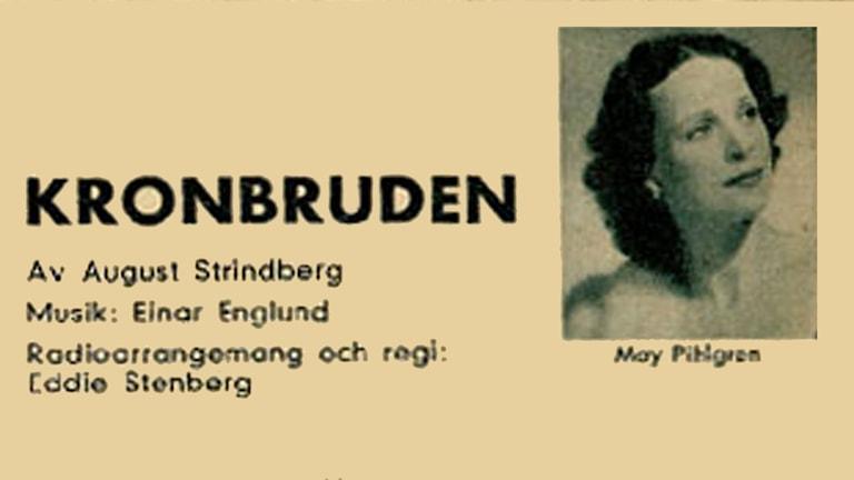 Detalj annonsen till Kronbruden i Röster i Radio nr 41, 1956.