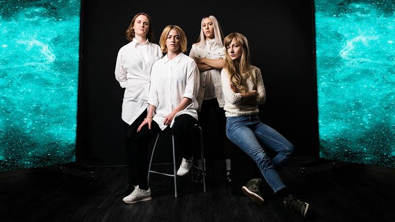 Girlnet - Helena Sandström, Karin Bengtsson, Isabel Cruz Liljegren och Maia Hansson Bergqvist. (Foto: Mattias Ahlm/Sveriges Radio)