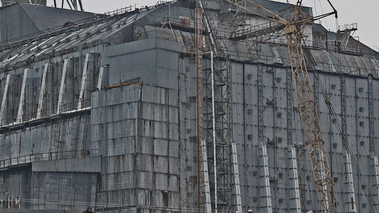 Den havererade och lappade reaktorn i Tjernobyl (Foto: Maria Persson Löfgren/Sveriges Radio Ekot)