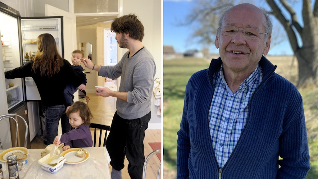 En familj med två  vuxna och två barn tar hand om barnen i köket.