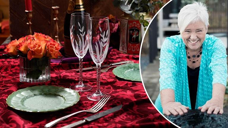 Montage med ett dukat bord och Helén Andersson.