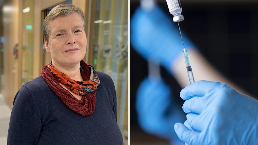 Tvådelad bild med primärvårdschef Beate Poetzsch och en vaccindos.