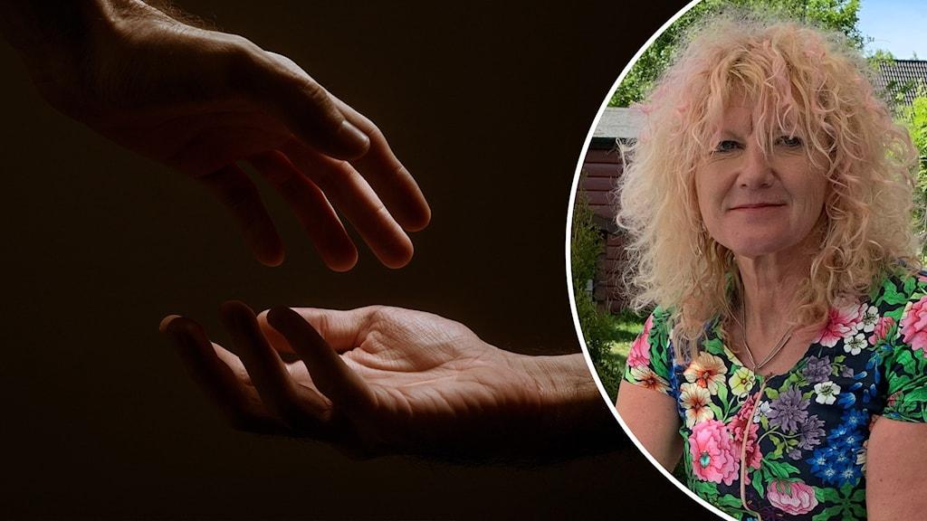 Tvådelad bild: Två händer är på väg att ta på varandra och sexrådgivaren Ann-Sofi Lager som sitter utomhus i solen.