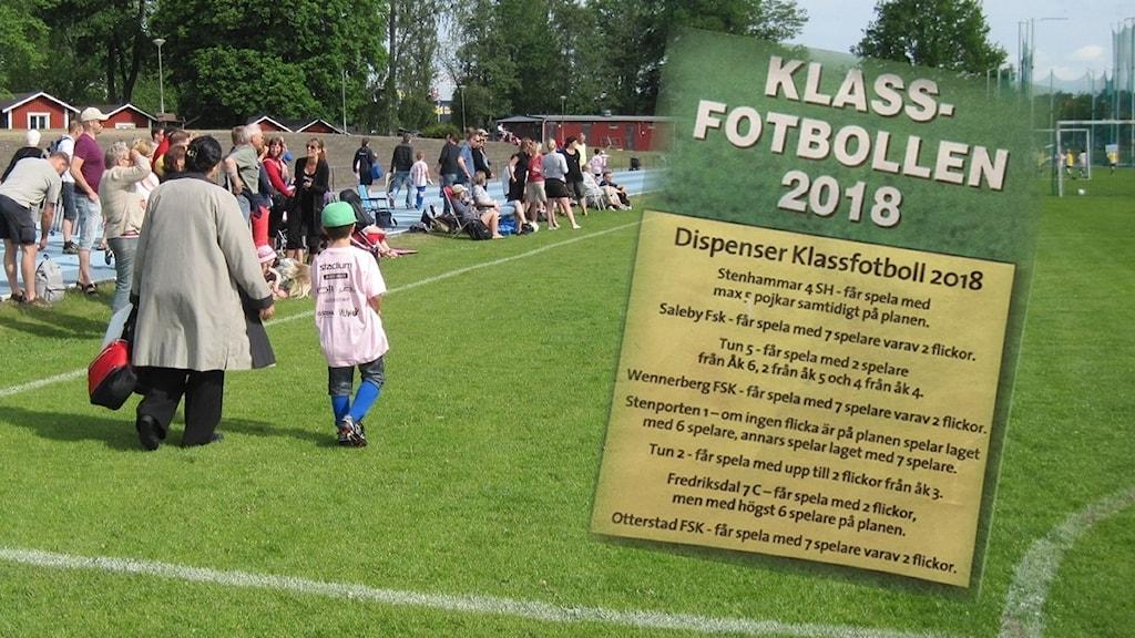 Barn på fotbollsplan och annonsen inklippt ovanpå fotbollsplanen.
