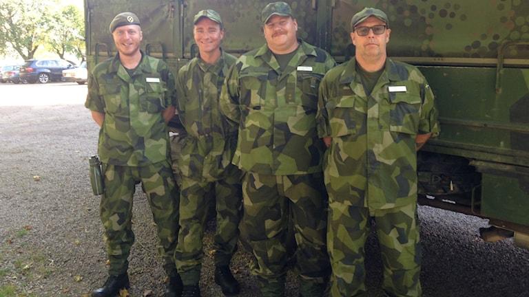 Laget i patrullfälttävlan Hemvärnet Skaraborg. Foto: Jenny Josefsson Sveriges Radio