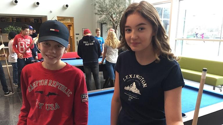 Jacob Nilsson och Amanda Fredriksson i 7A på Forsenskolan vill ha mer idrott på schemat.