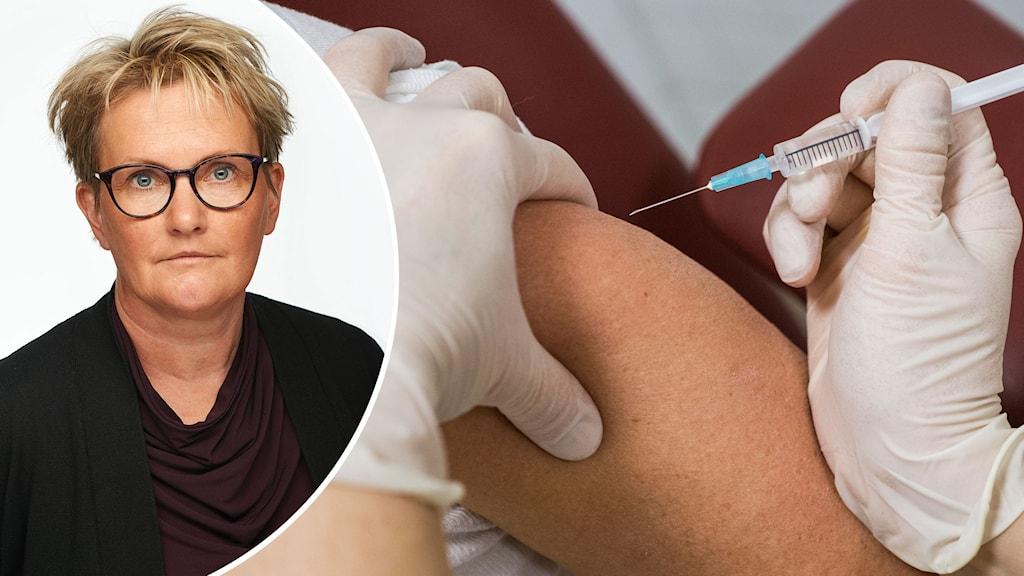 Montage med vård- och omsorgschefen i Lidköpings kommun, Lotta Hjoberg och en person som får en spruta i armen.