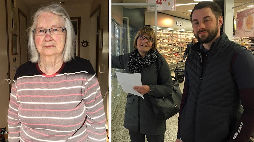 Birgit Karlsson till vänster. Till höger Ylva Johansson och Martin Karlsson på socialförvaltningen som numer spenderar mycket tid bland butikshyllorna.