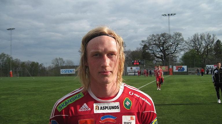 Martin Gerhardsson, här i Skövde AIK:s tröja, är aktuell för en återkomst i Tibro AIK tillsammans med två andra gamla lagkamrater. Arkivfoto: Tommy Järlström P4 Skaraborg Sveriges Radio.