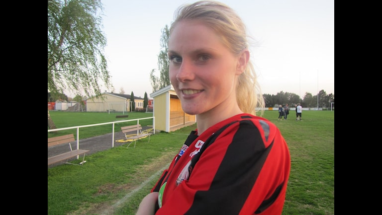 Lidköpings målspruta Sandra Lagerbratt. Foto: Petra Dydiszko, P4 Skaraborg / Sveriges Radio