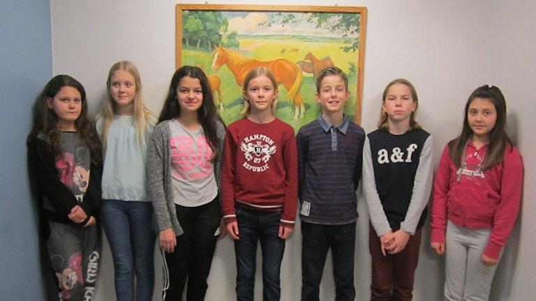 Det är de tävlande från Kornet årskurs 5 på Vedums skola.