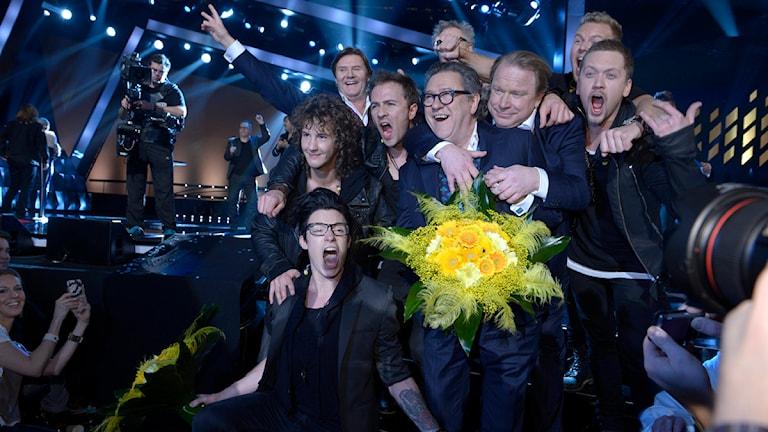 State of Drama och Ravaillacz efter deltävlingen i Melodifestivalen 2013 i Skellefteå. Foto: Janerik Henriksson / scanpix.se
