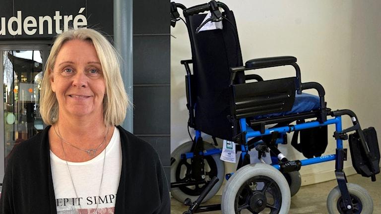 En kvinna och en rullstol.