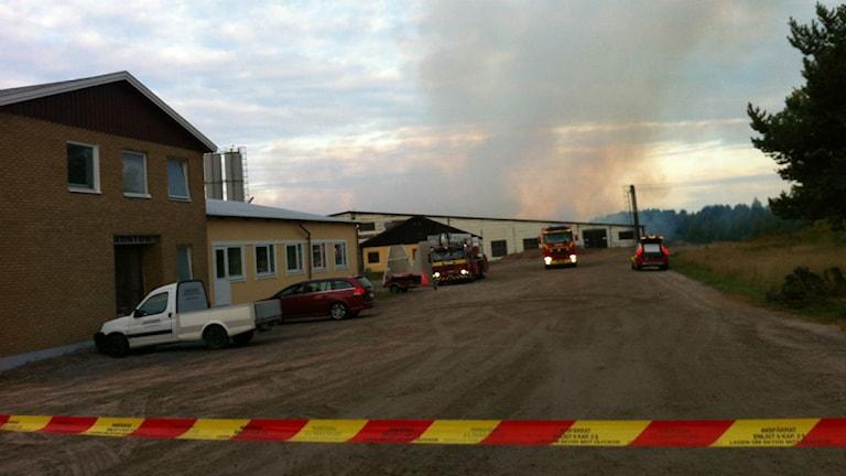 Brand på cementfabrik i Brännebrona Foto: Lisa Andersson/P4 Skaraborg