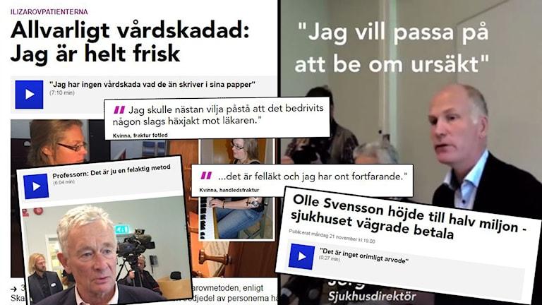 collage av publiceringar om ilizarovgranskningen