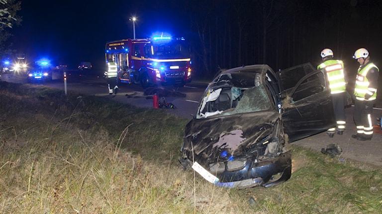 Bild från olyckan som ägde rum på E20 vid Ledsjö utanför Skara. Foto: Torbjörn Axelsson