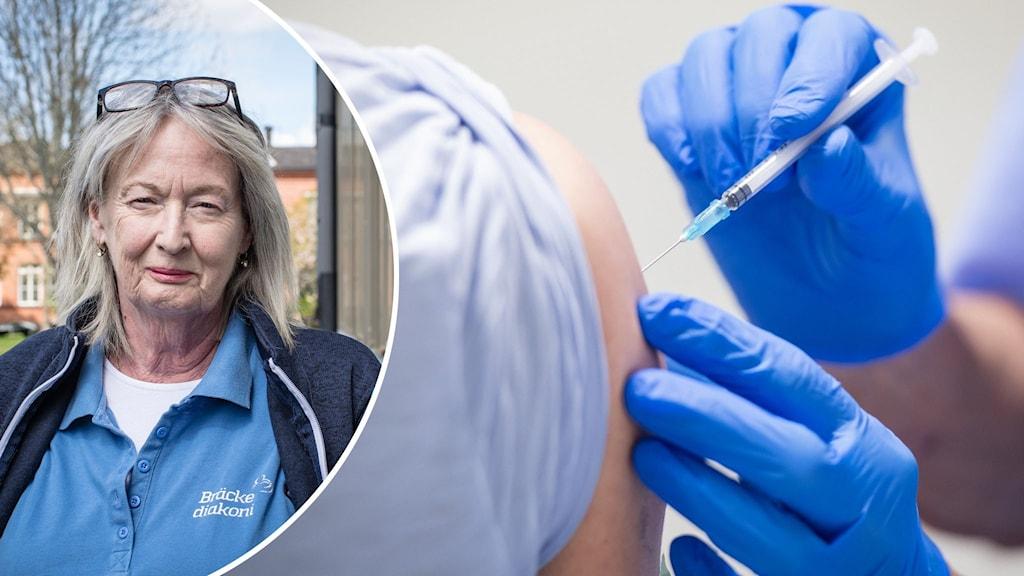Eva Öfwerman infälld intill en person som får en vaccinspruta i armen.