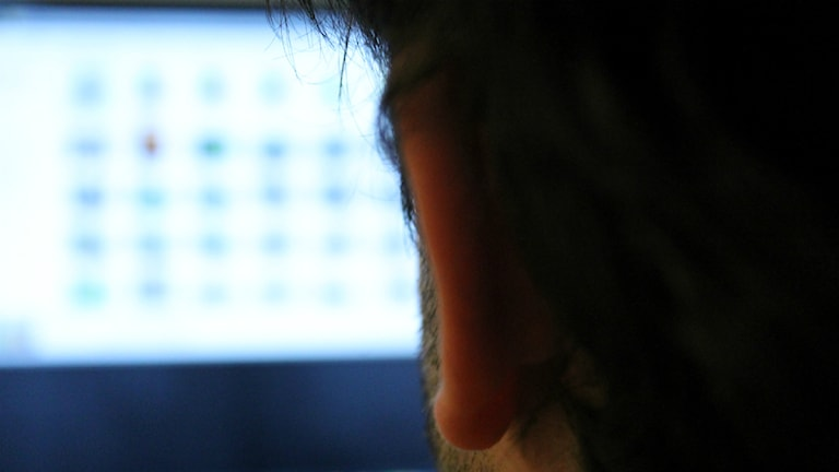 En person tittar på bilder i datorn. Foto:Viktoria Svedlund/P4 Skaraborg