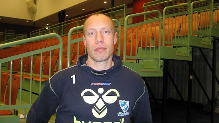 Duktige målvakten Robert Lechte i IFK Skövde efter förlusten. Foto Tommy Järlström P4 Skaraborg Sveriges Radio.