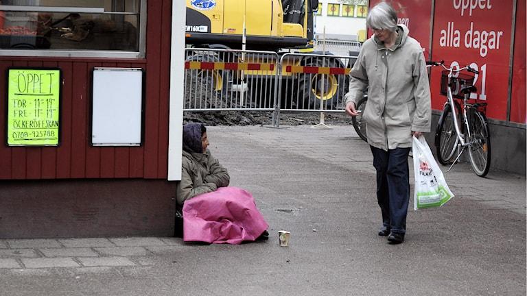 Falköping har börjat kartlägga sina tiggare. Foto: Mary Chitgar / P4 Skaraborg Sveriges Radio