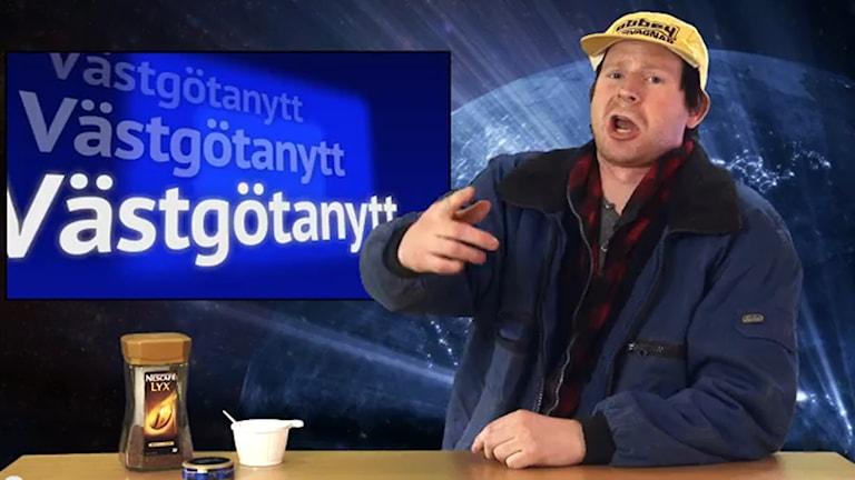 Andreas Magnusson som nyhetsankare i Västgötanytt.
