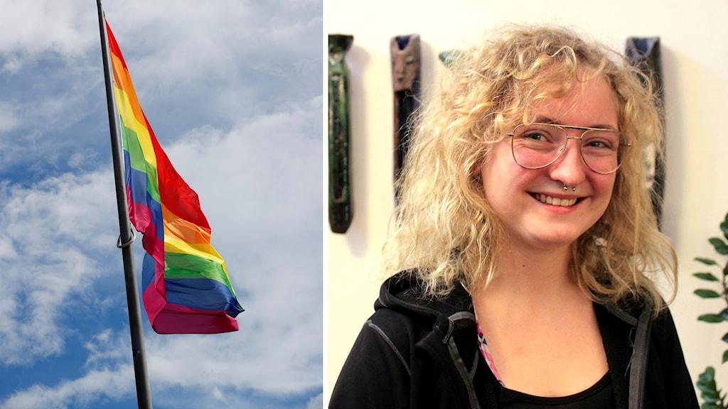 Ett montage av en bild på en prideflagga och en bild på Hanna Forsling, en blond tjej med glasögon som ler.
