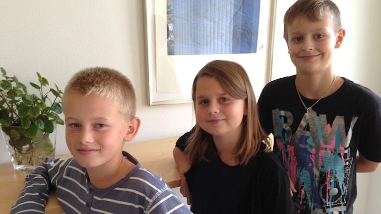 Ludvig, Ella och Vincent pratar om vad som kan göra att man blir osams och sedan sams igen. Foto:Petra Dydiszko, P4 Skaraborg/Sveriges Radio