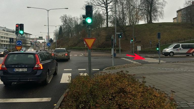 Övergågnsställe i Skövde där en kvinna blev påkörd. Foto: Mats Öfwerström / Sveriges radio