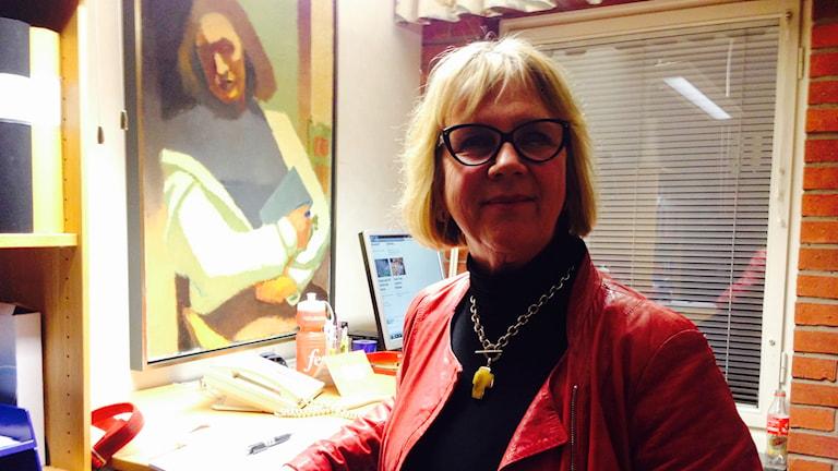 Lena Sjödahl, moderat oppositionsråd i Falköping. Foto: Jonas Partéen/P4 Skaraborg Sveriges radio.