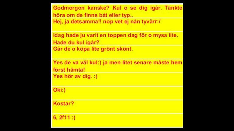 Exempel på facebook-konversation mellan köpare och knarkförsäljaren. Bild: Ur förundersökningen