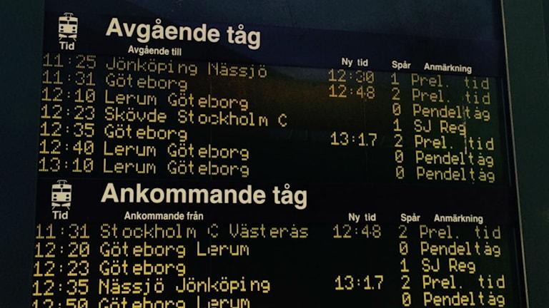 På en informationstavla på stationen i Alingsås syns att tågen är försenade. Foto: Emilie Lindholm P4 Skaraborg