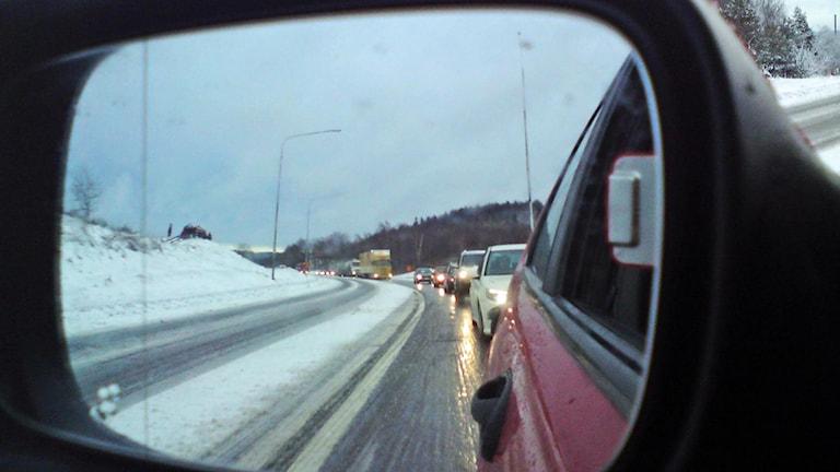 Bilkö sedd från en backspegel. Foto: Marthina Stäpel / Sveriges Radio.