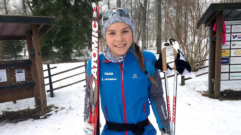 Johanna Hagström är en av Sveriges bästa längdskidåkare i sin åldersklass. Foto: Petra Dydiszko, P4 Skaraborg/Sveriges Radio