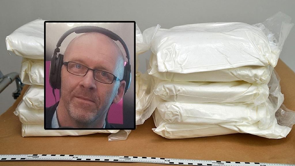 Biträdande polisområdeschef Per Ottosson berättar nu om storleken på rekordbeslagen av amfetamin. Narkotikan på bilden är inte från det aktuella beslaget. Foto: Peter Stenberg / Sveriges Radio
