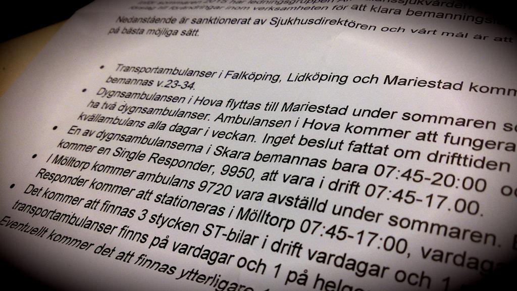 Dokumentet som visar planen för ambulansverksamheten i Skaraborg i sommar