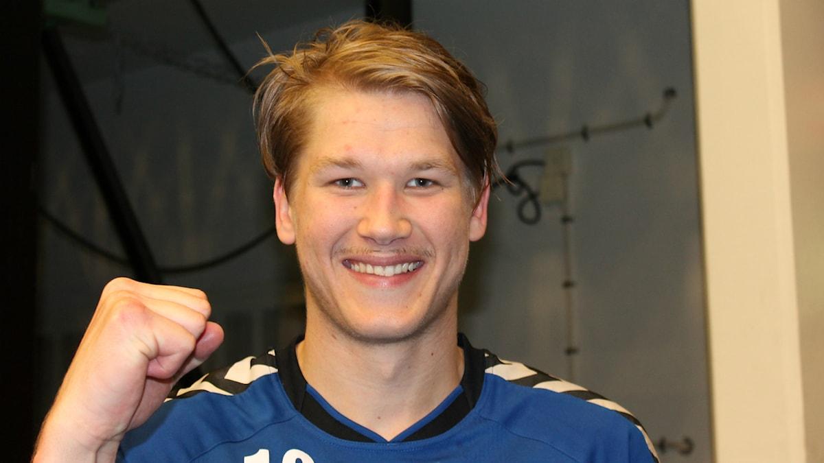 En nöjd Markus Stegefelt efter segern mot Önnered. Foto Tommy Järlström P4 Sveriges/Radio.