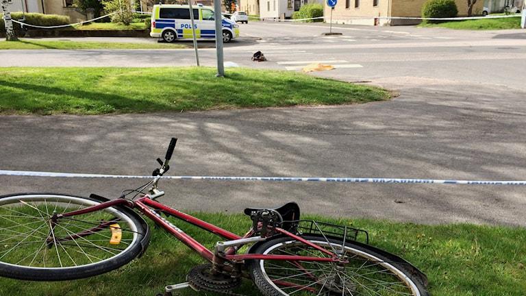 Här, utanför socialkontoret i Tidaholm, attackerades kvinnan av sin make. Foto: Mats Öfwerström / Sveriges Radio