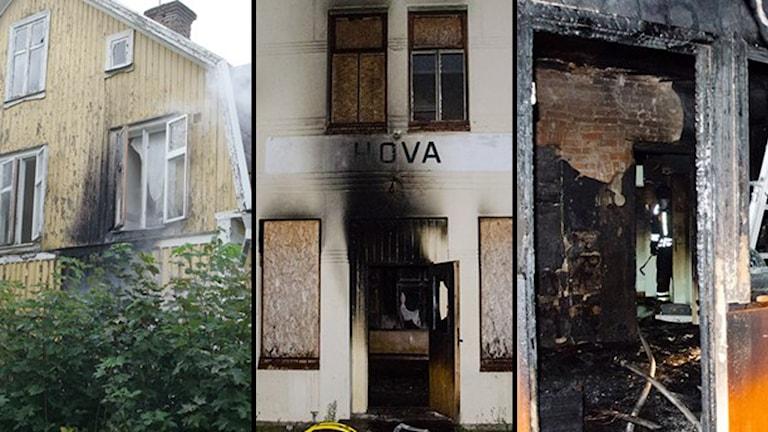 Flera olika mordbrännare var i farten samtidigt i Hova. Foto: Arne Lundström och Simon Wadebäck