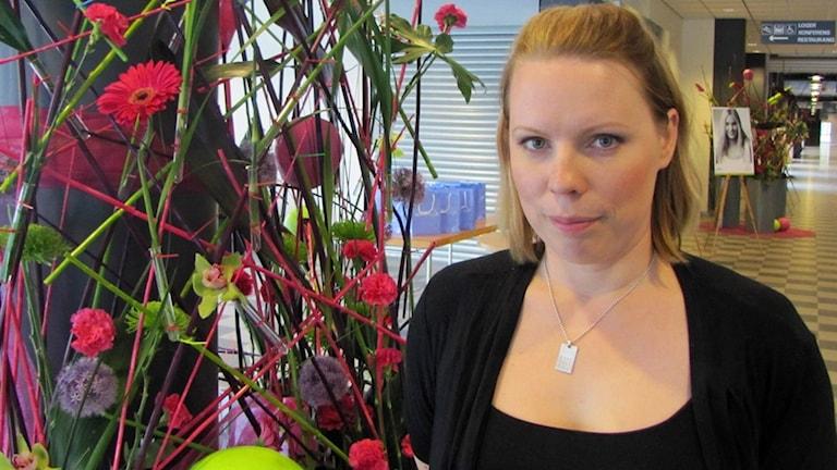 Journalisten och författaren Caroline Engvall pratar om virtuell våldtäkt. Foto:Henrik Damberg/Sveriges radio
