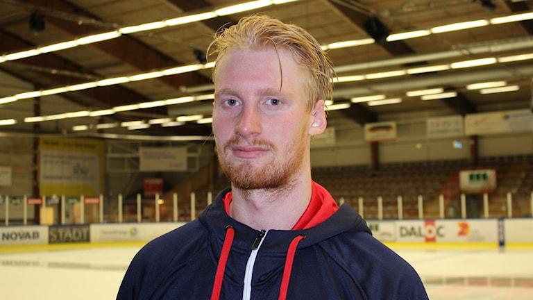Johan Dahlbom tvåmålskytt i Mariestad Bois. Foto Tommy Järlström P4 Sveriges Radio.